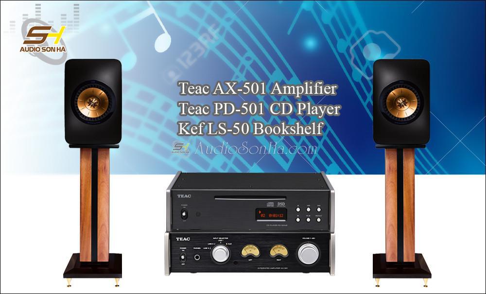 Hệ thống nghe nhạc Teac + Kef LS50