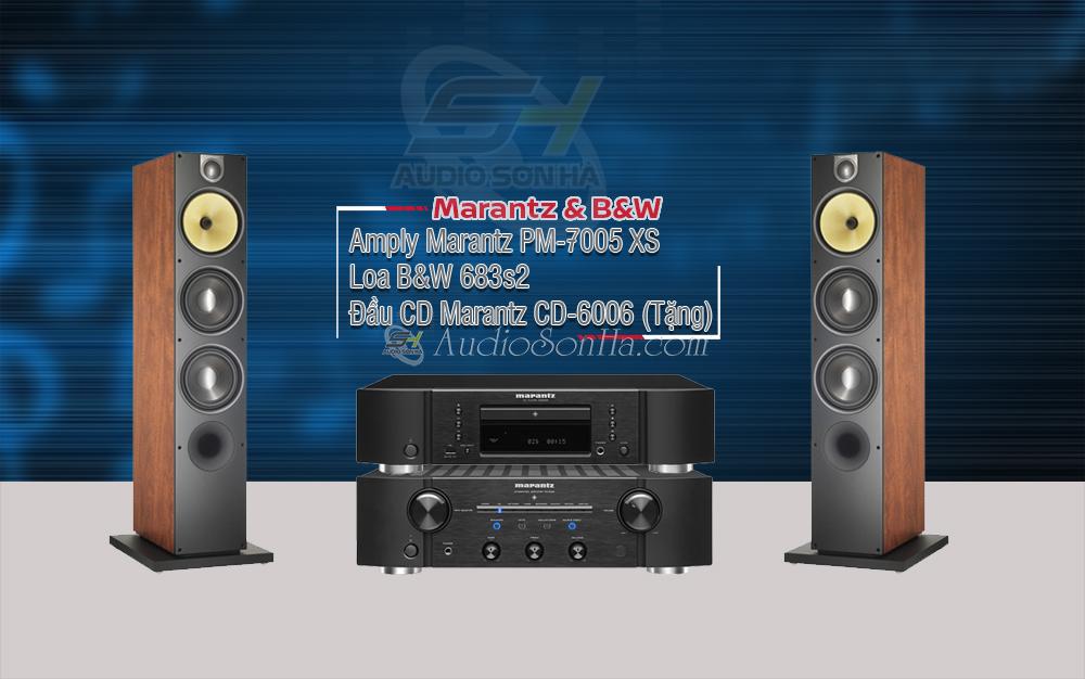 Hệ thống nghe nhạc Ampli Marantz PM - 7005 XS Japan / B&W 683 S2 Cherry (cặp)