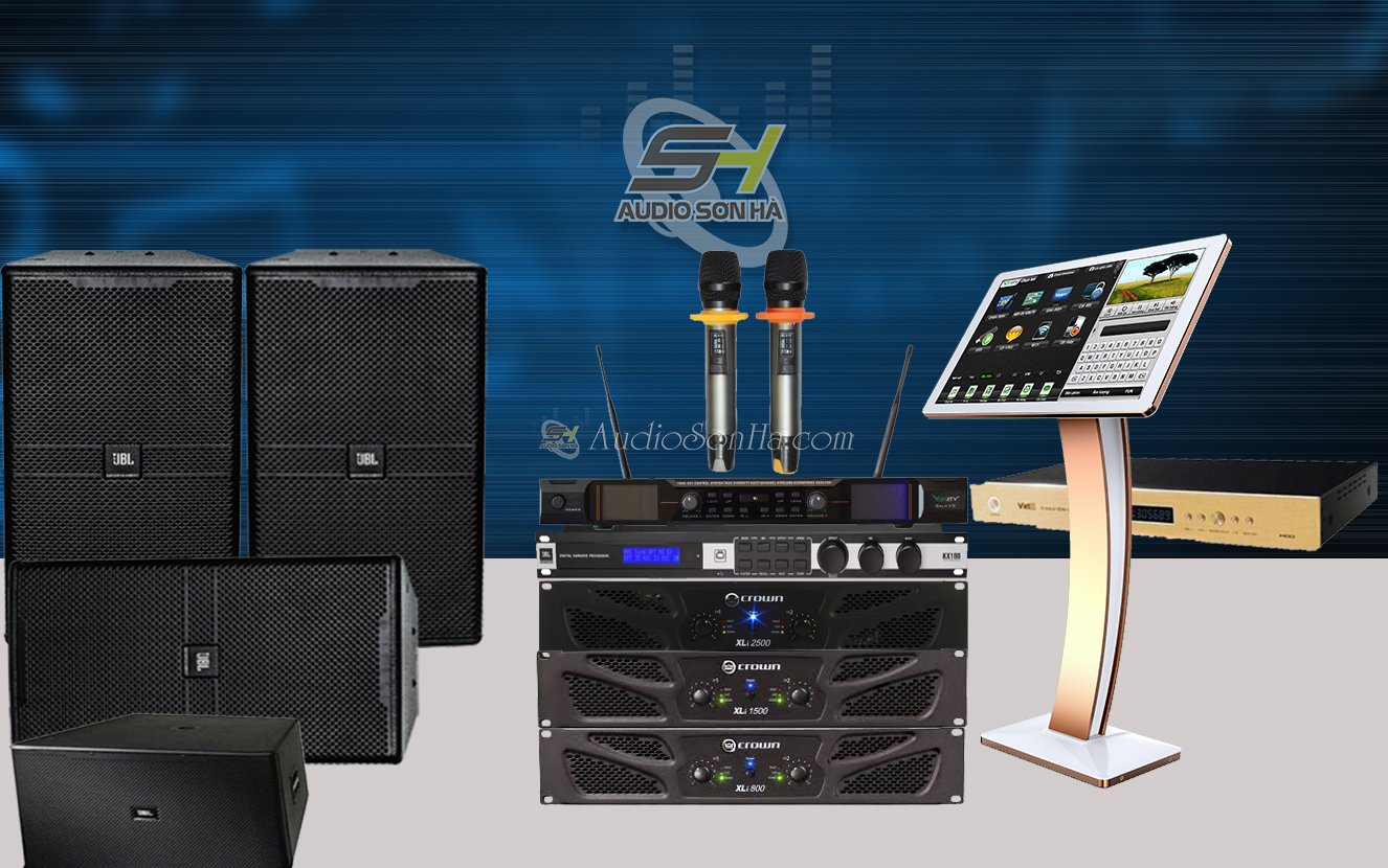 Dàn Karaoke Cao cấp dành cho phòng 40 - 60m2 Pro JBL KP-4012/Crown XLI-2500 (Set2)