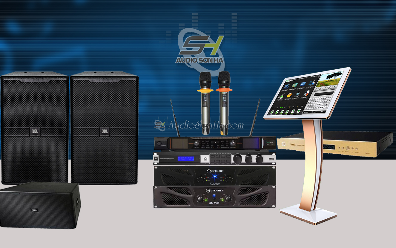 Dàn Karaoke Cao Cấp  phòng 40 - 60m2 Pro   JBL KP-4012 /Crown XLI-1500 ( Set1)