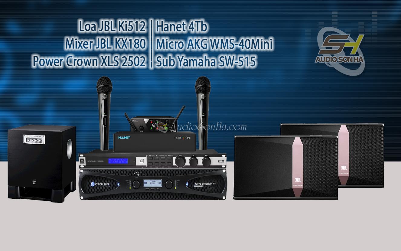 Hệ thống Karaoke loa JBL Ki512 và Crown 2502