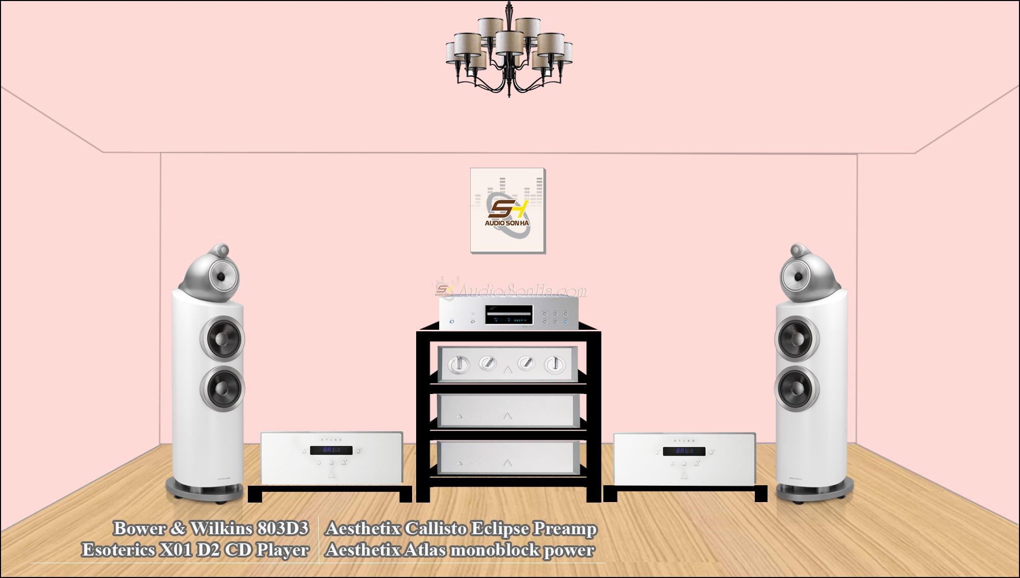 Hệ thống nghe nhạc Aesthetix + B&W 803d3/White