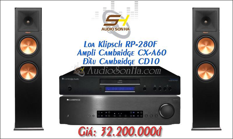 Hệ thống nghe nhạc Cambridge + Klipsch