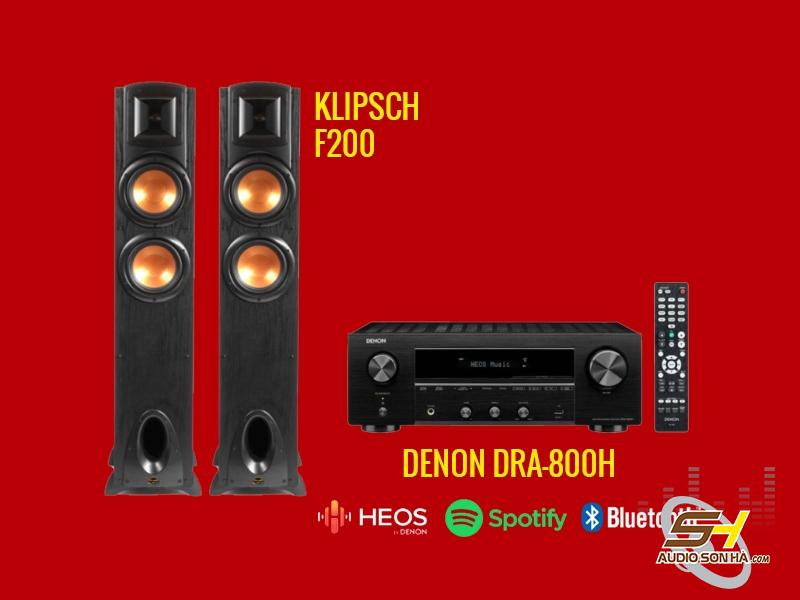 Hệ thống nghe nhạc Denon DRA-800H và loa Klipsch F200