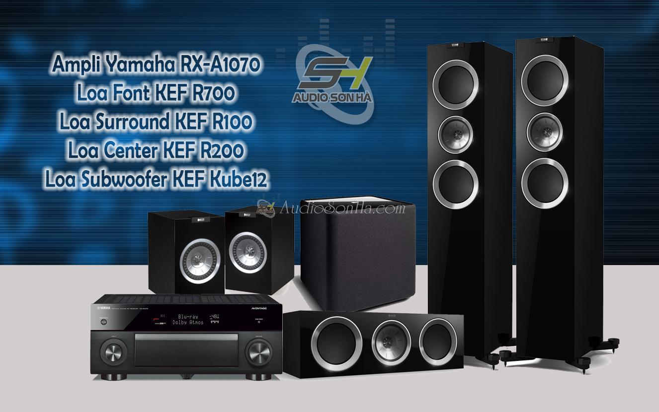 Hệ thống xem phim Yamaha A1070 và KEF R Series